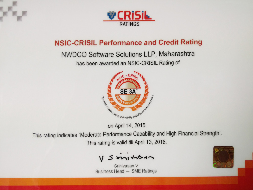 Credit Rating of SE3A by NSIC-Crisil Performance