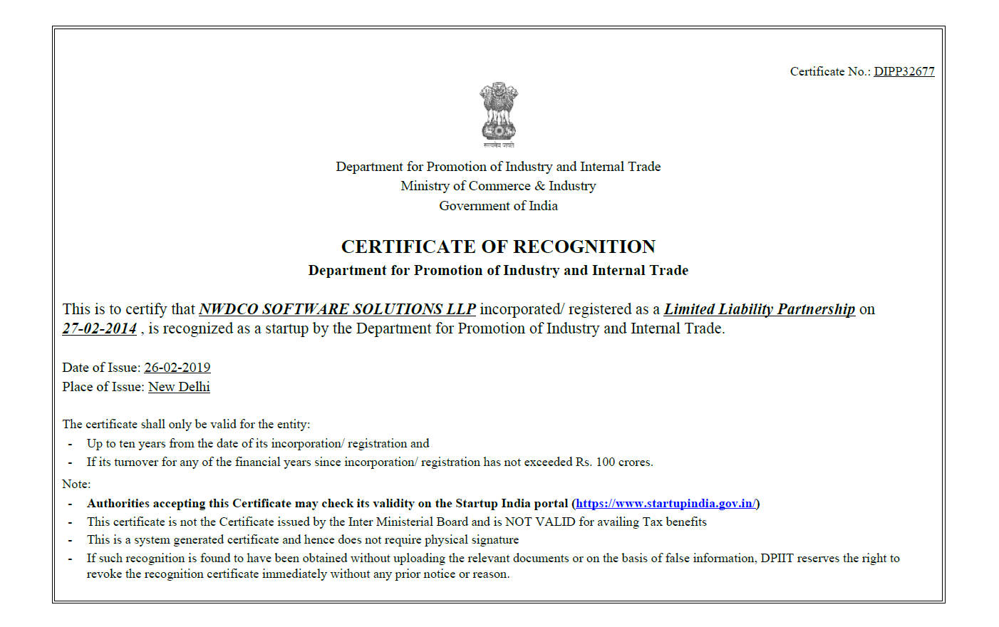 DIPP Recognised Certificate for Startup India