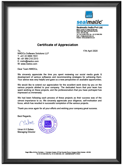 Certificate of Appreciation from Sealmatic India Pvt. Ltd. - 17th April, 2020