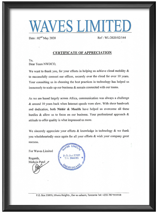 Certificate of Appreciation from Waves Limited - 2nd May, 2020