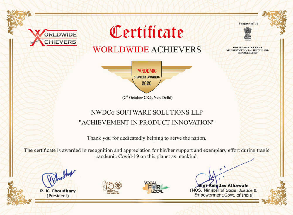 Certificate of Appreciation from Worldwide Achievers - 2nd October, 2020